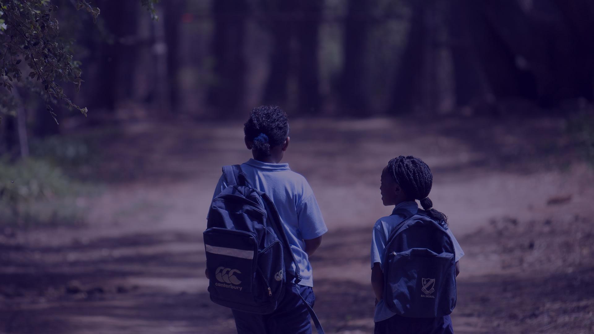 Children on their way to school